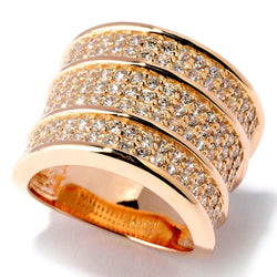 Plated SS & Cz Three Row Pave Wide Band Ring