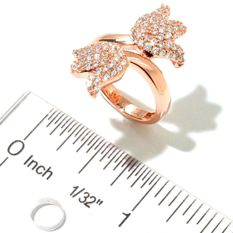 Rose Plated SS & Cz Pave Tulip Bypass Ring