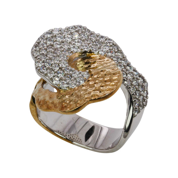 SS & CZ Two-Toned Hammered Texture Ring