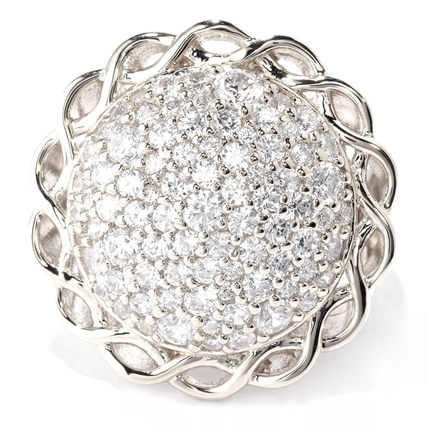 Plated SS & Cz Intertwined Ring