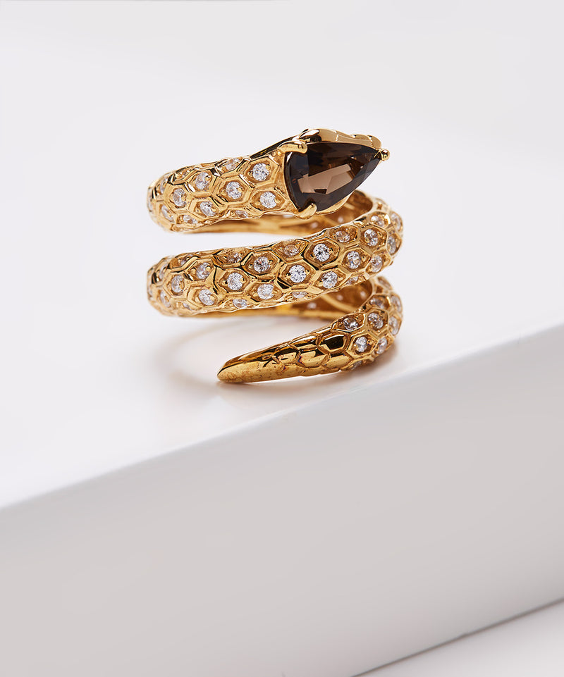 Plated SS Smoky Quartz & Cz Snake Ring
