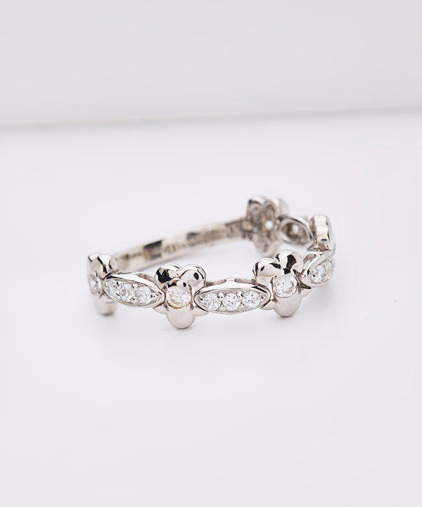 Plated SS & Cz Flower Link Ring