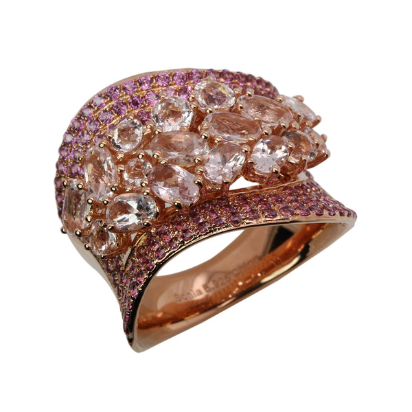 SS Morganite & Rhodolite Cluster Ring
