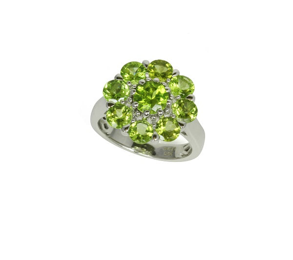 Sterling Silver & Peridot Large Flower Ring