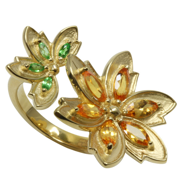SS Spessartite & Tsavorite Flower Double Cuff Ring