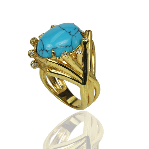 SS Turquoise & White Topaz Accent Ring
