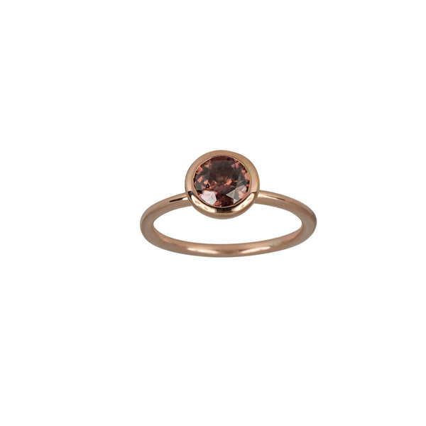 SS Stackable Rose Zircon Bezel Set Ring