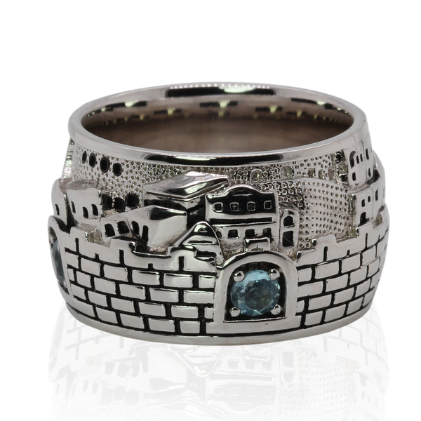SS & Blue Topaz Jerusalem Skyline Ring