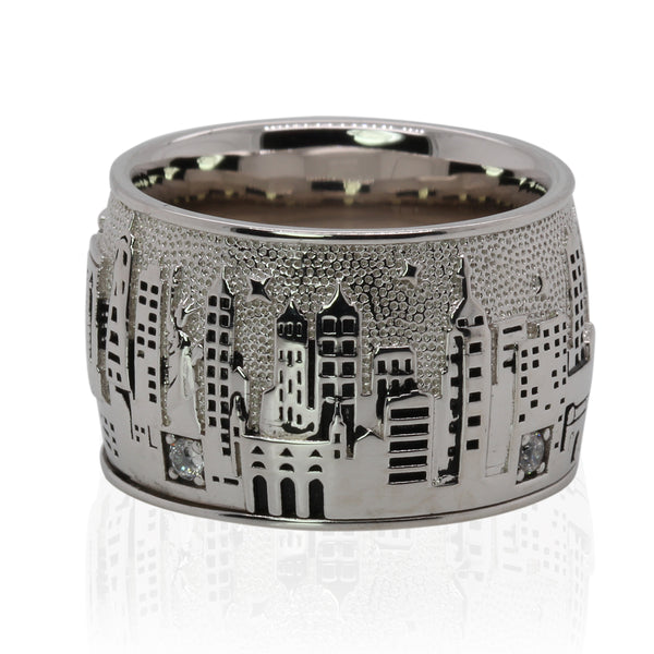 SS & White Zircon New York City Skyline Ring