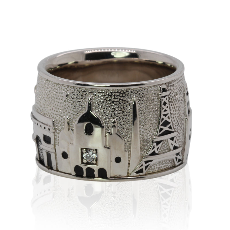 SS & White Zircon Paris Skyline Ring