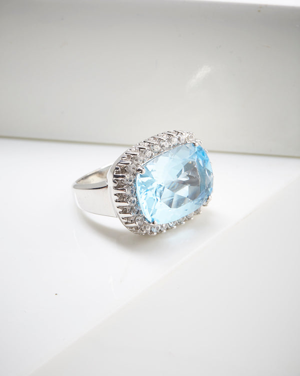 Platinum Plated SS Blue Topaz & White Zircon Ring