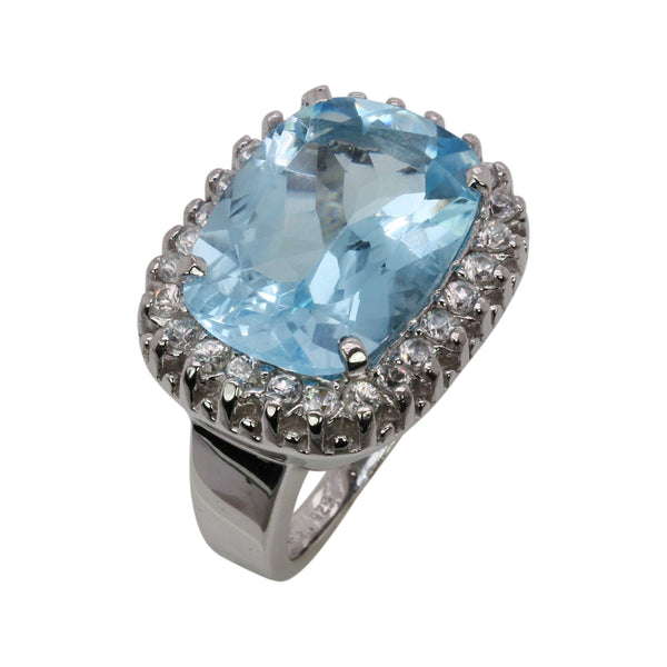 SS Blue Topaz & White Zircon Cocktail Ring