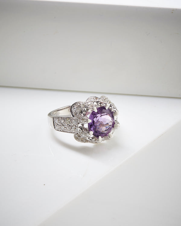 Rhodium Plated SS Amethyst & White Zircon Ring