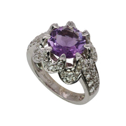 SS Amethyst & White Zircon Multi Claw Ring
