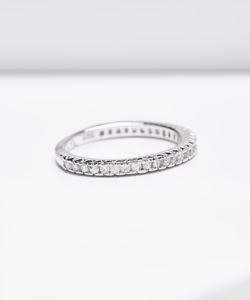 Rhodium Plated SS White Zircon Eternity Ring