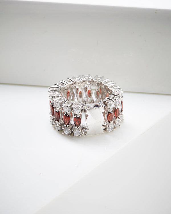 Rhodium Plated SS Almandite & White Zircon Ring
