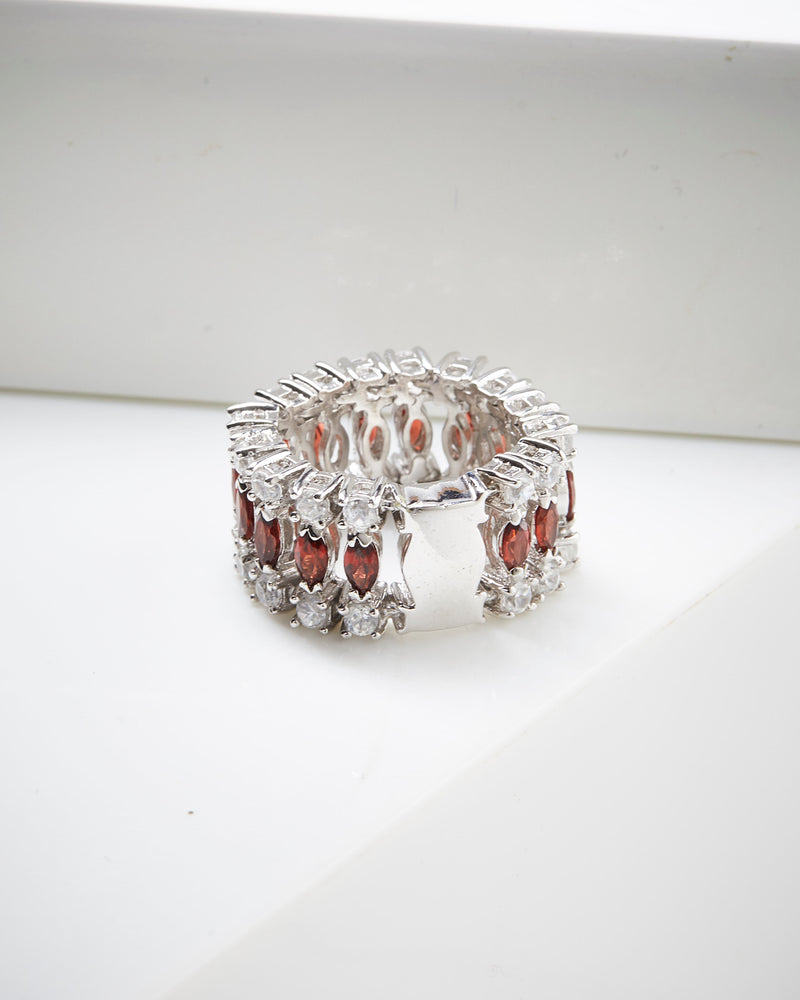 SS Almandite & White Zircon Flex Ring