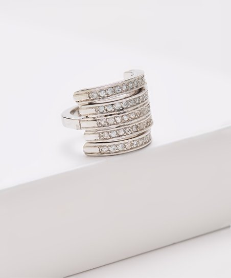 Rhodium Plated Sterling Silver White Zircon Flip Ring