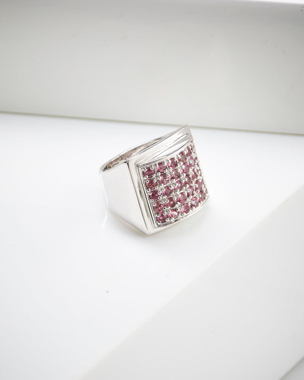 Rhodium Plated Sterling Silver Pink Tourmaline Ring