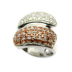 Platinum Plated Sterling Silver Orange Sapphire Ring