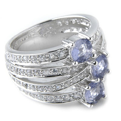 Rhodium Plated SS Iolite & White Zircon Ring