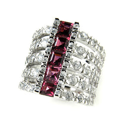 Rhodium Plated Sterling Silver Rhodolite & White Zircon Ring