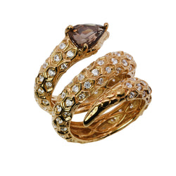 SS Smoky Quartz & Cz Snake Ring