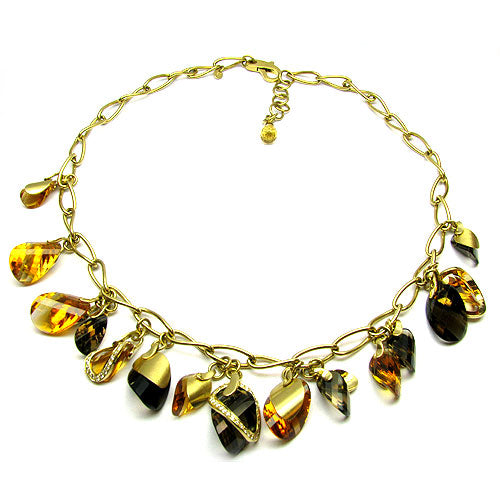 18k Gold 19'' Smoky Quartz, Citrine & Diamond Necklace