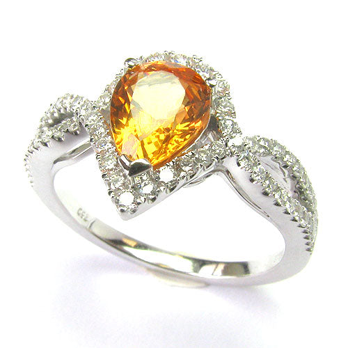 18k Gold Pear Spessartite & Diamond Ring