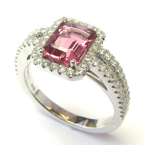 18k Gold Pink Tourmaline & Diamond Ring