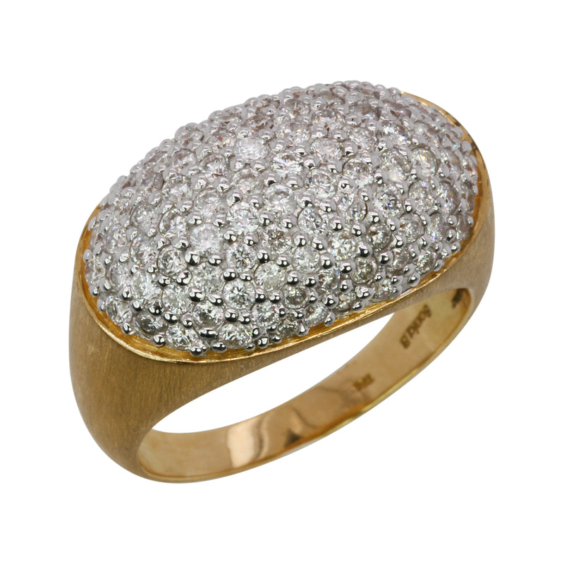 18k Two Tone Gold Oval Satin Finish Dome Ring