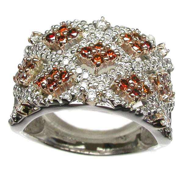 14k Two Tone Gold White & Red Diamond Weave Ring