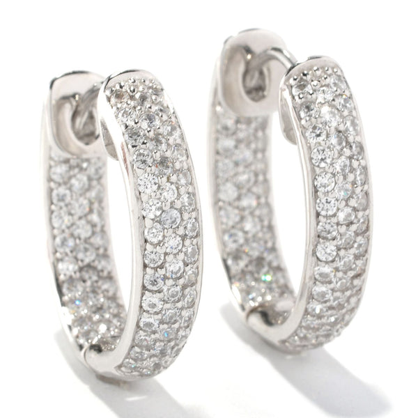 Plated SS & Cz Oval Pave Huggie Earrings