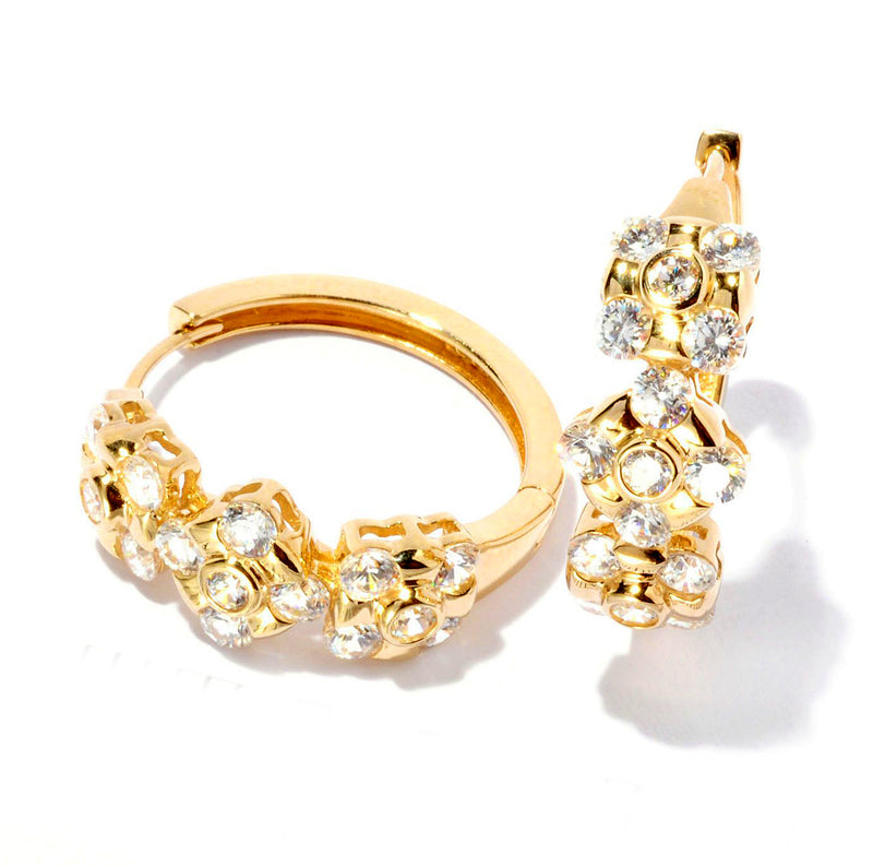 Plated SS & Cz Station Hoop Earrings