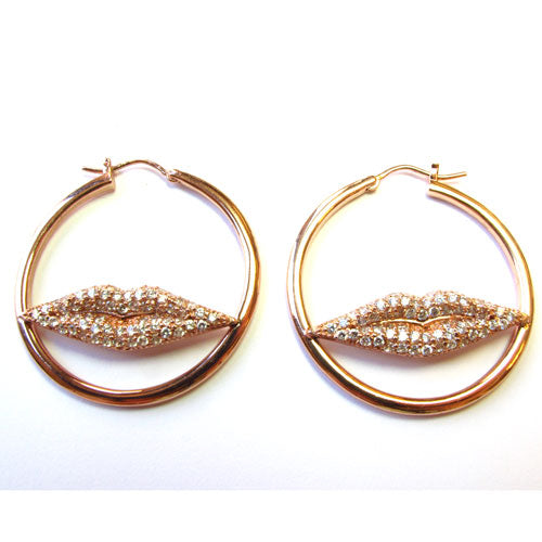 Plated SS Pave Lips Hoop Earrings