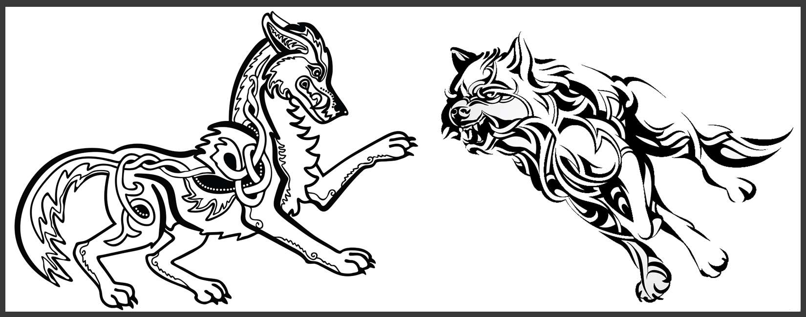 tatouage loup tribal celtique