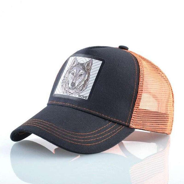 casquette trucker loup orange