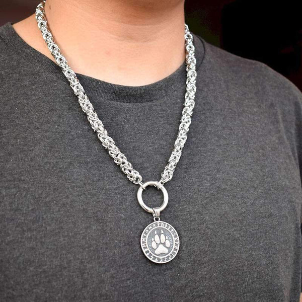 collier patte loup homme
