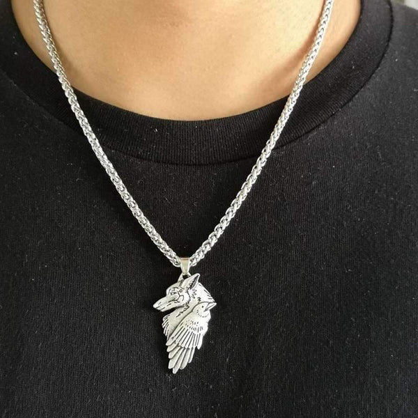 collier pendentif loup corbeau homme