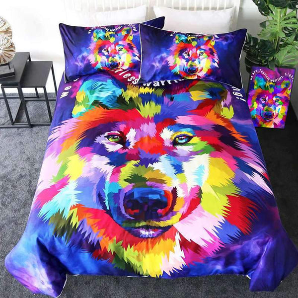 housse couette loup colore