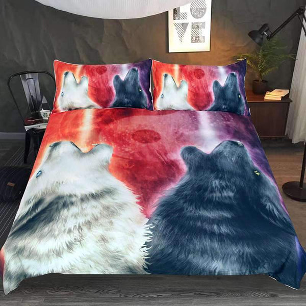 housse couette loup qui hurle