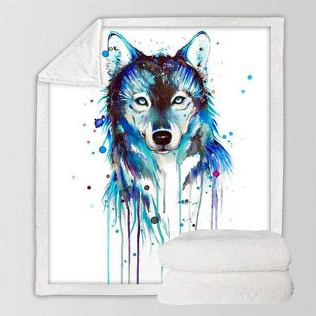 plaid loup aquarelle