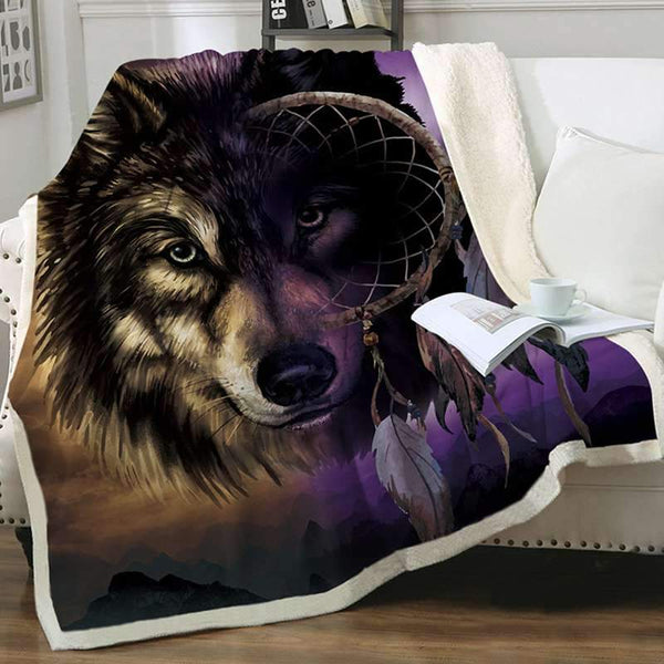 plaid loup dessin attrape reve