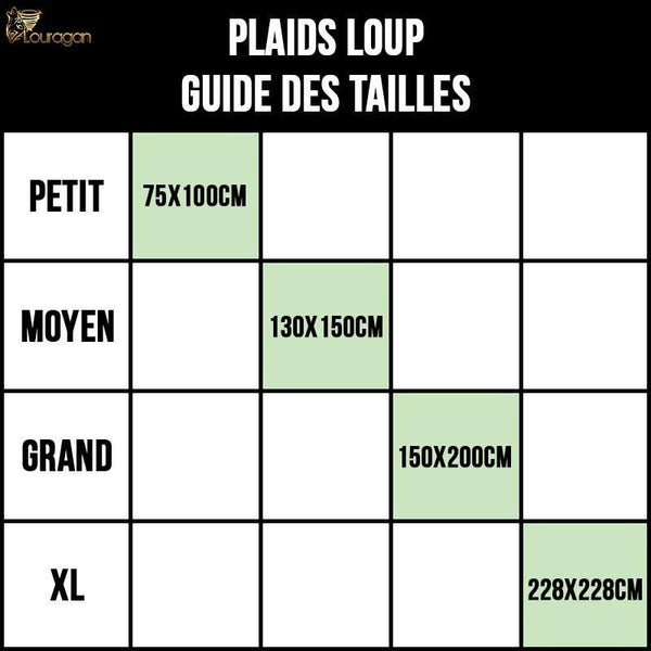 plaid loup lune taille