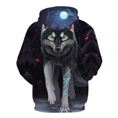 sweat loup gris dos