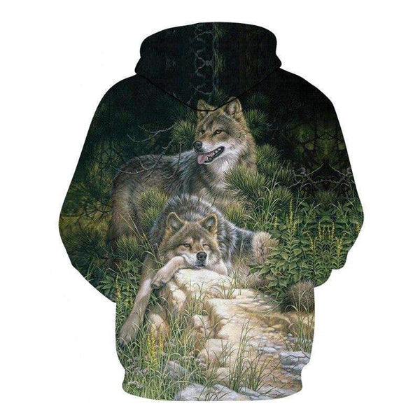 sweat shirt dessin loup dos