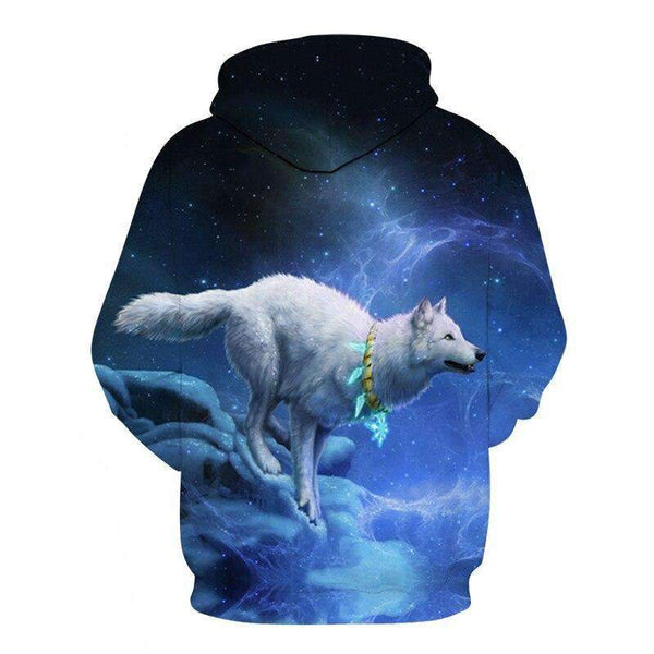 sweat shirt loup blanc dos