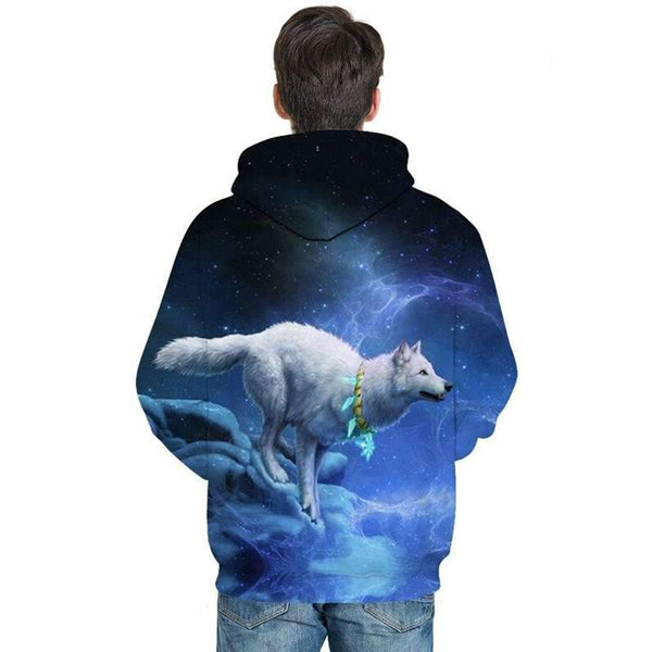 sweat shirt loup blanc homme dos