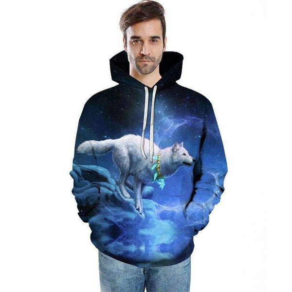 sweat shirt loup blanc homme
