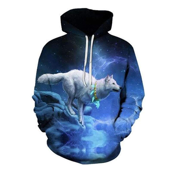 sweat shirt loup blanc